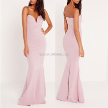 High end clothing western fishtail mermaid sleeveless sweetheart neckline evening maxi dress