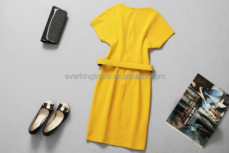 dress manufacturer Causal Yellow Women Dress with belt