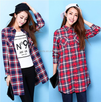 plaid blouses,plaid pattern print cotton blouses for women,newest blouses designs long sleeve manufacture for women