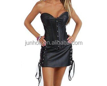 long new black leather corset dress with lacing closure