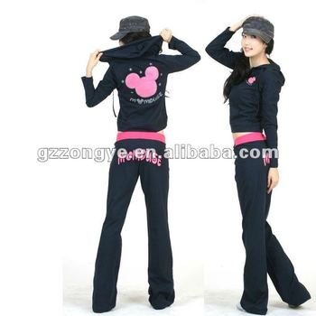 Women fashion sports wear suit 2012 cardigan set zip-up sweater with hood