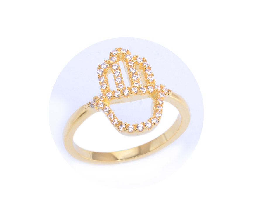 R0715 14 karat gold jewelry wholesale hand shape women gold ring custom design