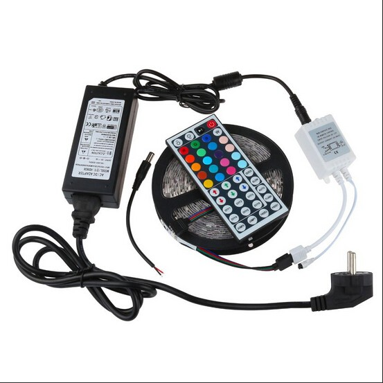 RGB IP65 led strip light tape 5m SMD 5050 dc 12V Power adapter 44keys controller Ribbon Lighting kit with ROHS/CE