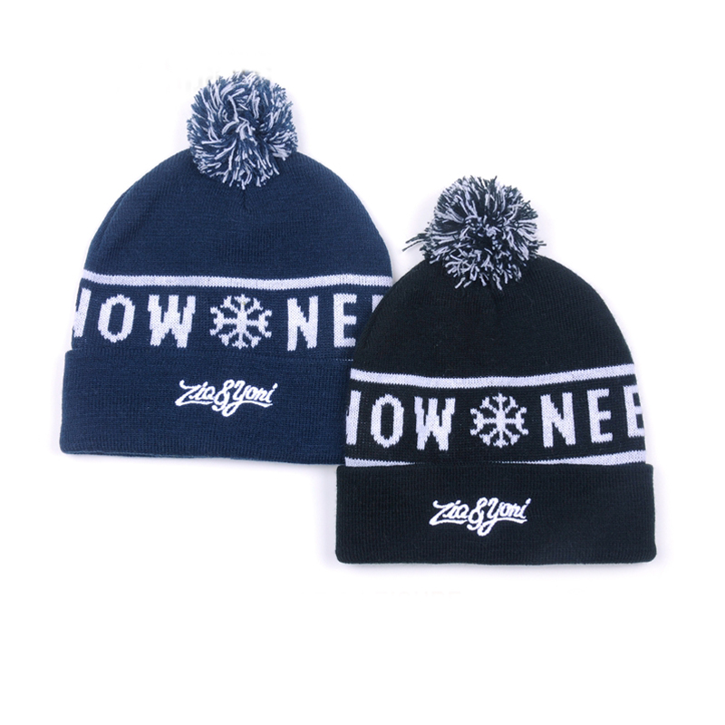 Winter Ski Pom Pom Beanie Knitted Hats with Custom Logo