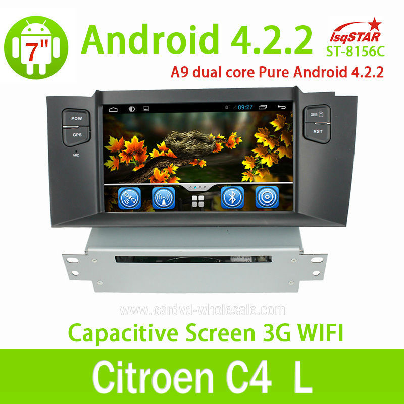 CITROEN C4L Android 4.2 car dvd Multimedia device radio audio gps RDS Telephone book AUX IN GPS ,WIFI 3G