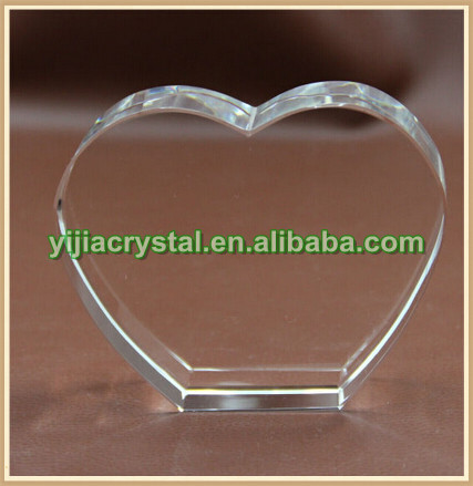 Laser Engraved Crystal Glass Heart for Wedding Gift