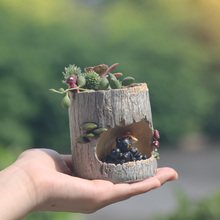 roogo Promotional animal pottery garden decoration tree hole with lovely