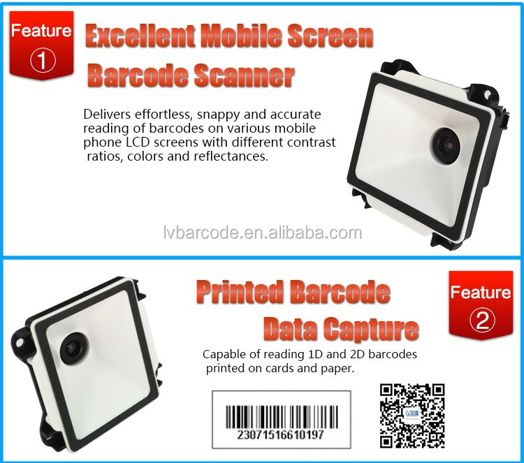 Low Cost 1D/2D Printed and LCD Screen E Ticket Barcode Reader for Kiosk and Parking Meter