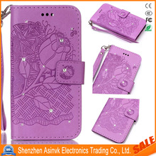 Rhinestone Kickstand Shockproof Built-in Card Slots Wrist Strap Leather Case For Samsung Galaxy S7 Edge