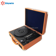Old Fashion Suitcase Style USB/SD Bluetooth Vinyl Record Player with Built in Stereo Speaker