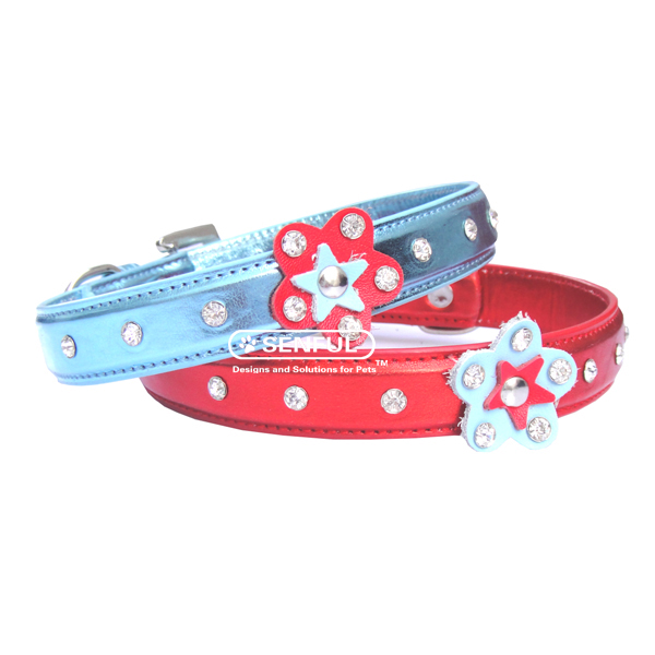Rhinestone Flower Pet Collar