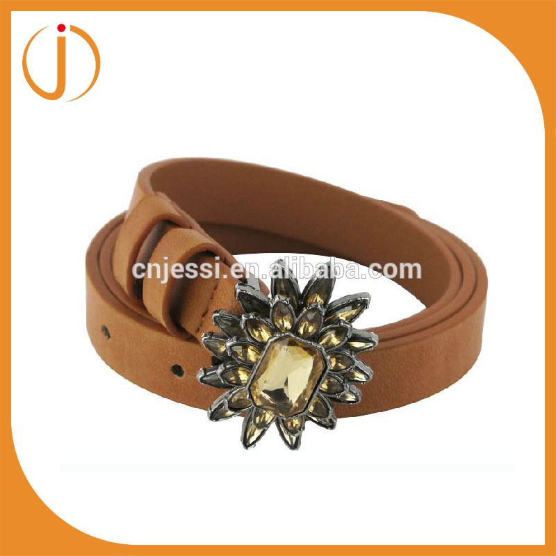 Wholesale sunflower rhinstone buckle women PU belt