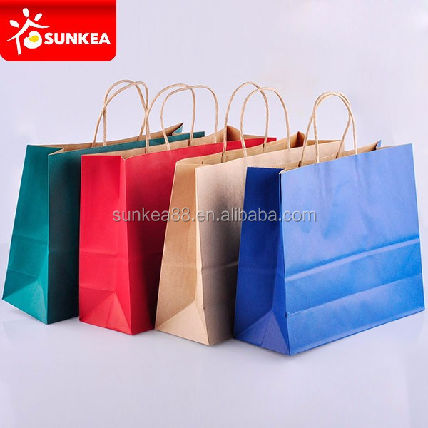High quality paper shopping bag brand name with different handle types