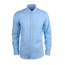 OEM CLOTHING MANUFACTURING 2017 LATEST DESIGN SLIM FIT STAND COLLAR MEN'S DRESS CHAMBRAY SHIRT