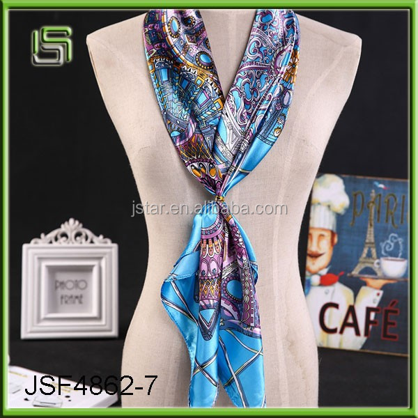 New fashion ladys silk satin square scarf