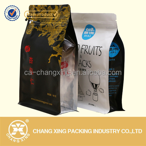 Eco friendly resealable plastic custom printed flat bottom ziplock bag/cookie packaging food bag