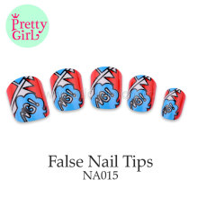 Matt Surface bule red color Nail tips Full False Fake Nail Tip NA015