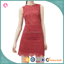 Red keyhole sleeveless style dress, fashion classic design dtress for women, young ladies wear party dress