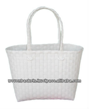 Cheap Woven Baskets Shopping weaving Bag(ATM-Wh) with White or Colorful made from Plastic Straps Polypropylene pp
