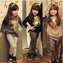 NEW Leopard Kids autumn fashion clothes for girls Cartoon long-sleeved + pants suit grils student clothes 3 styles