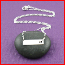 high quality high polish plain silver dachshund engraved plate necklace silver