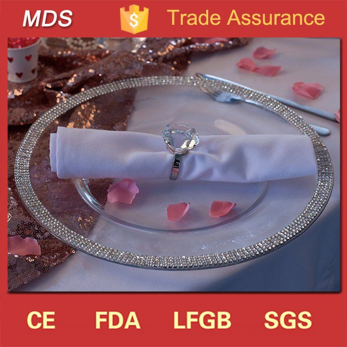 New wedding diamond mirror silver glass charger plate
