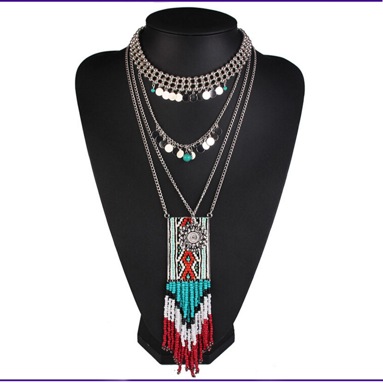 Fashion Bohemian Beaded Tassel Necklace Of Exotic Costume Jewelry