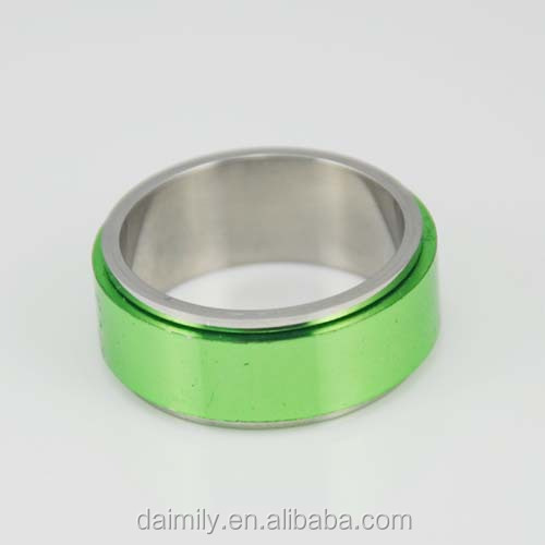 Daimily Stainless Steel Plating Green Fashion Band Ring