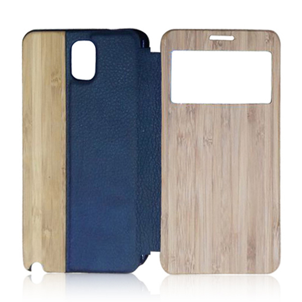 Leather +wood cell phone case protective back cover custom logo phone shell for Samsung note3