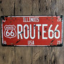 Route 66 Nostalgic Retro Embossed Car number/Licence plate Vintage Metal Sign