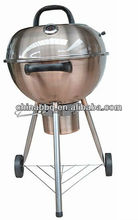 "Kettle BBQ grill, premium charcoal grill, copper brazier/trolley BBQ grill/18""/copper color, deluxe YH22018K"