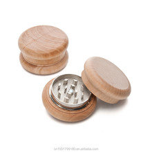 2 Parts 55MM Portable Original Wood Color Herb Grinder Small Wood and Metal Smoking Crusher EKJ GR082