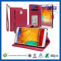 Hot selling protective for galaxy note 3 open window leather flip case