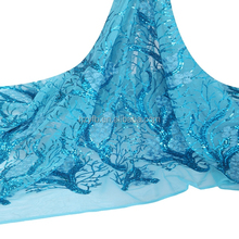 Exquisite bright teal color nigerian net french lace fabric / korean fabric for aso ebi dress / african french lace