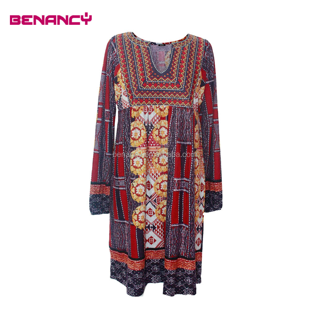 2017 Winter Elegant Indian Print apparel women's Batik dress
