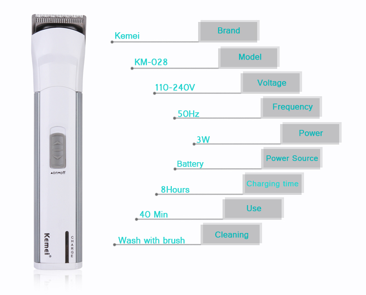 Kemei KM028 Electric Rechargeable Hair and Beard Trimmer, Hair Clipper and Also Work on Battery