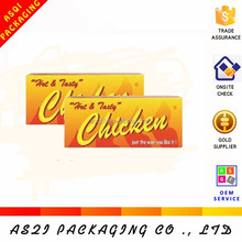 gold logo printed lock bottom packaging foldable paper fried chicken box for shop