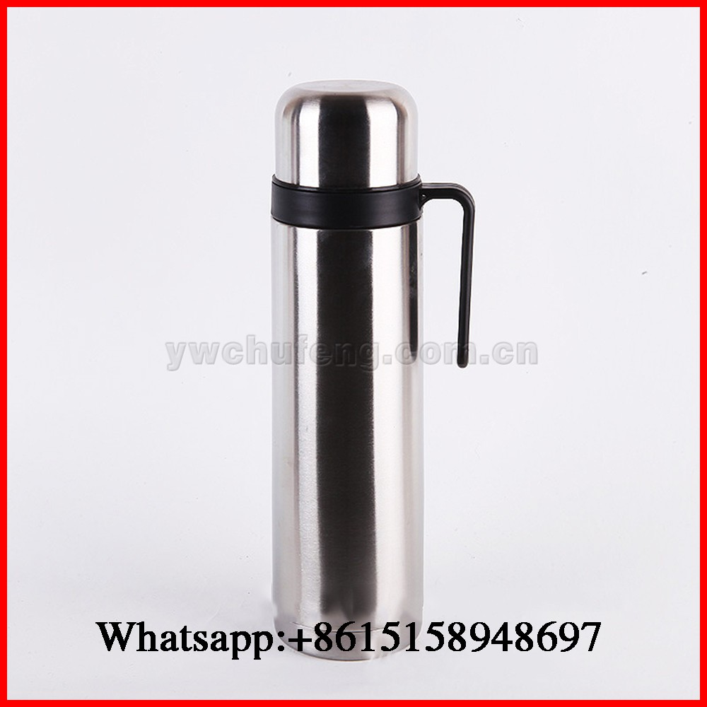 Stainless Steel Double Wall Thermo Flask With Straw Handle 1000ml Portable Thermos Jug Bottle OEM Welcomed