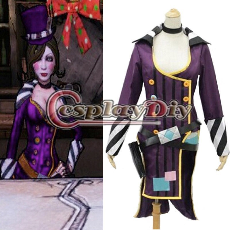 Borderlands 2 Mad Moxxi Purple Dress Costume Sexy Fantasy Carnival Halloween Game Cosplay Costume