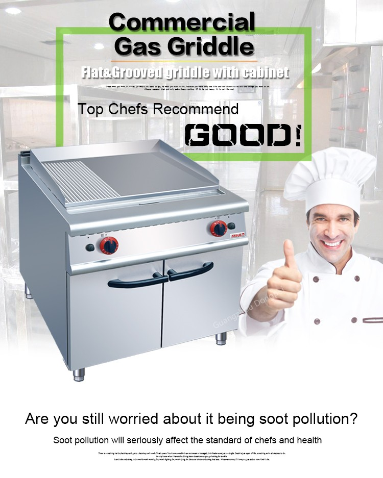 stainless steel electric half griddle and half grill with cabinet/gas griddle for restaurant griddle