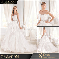 High Quality Custom Made organza beaded wedding gown