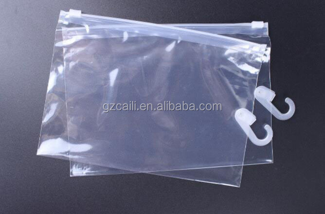 slider zippered cloth packaging hang hook bag