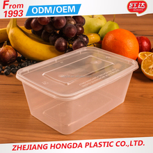 1000ml square transparent disposable plastic food containers