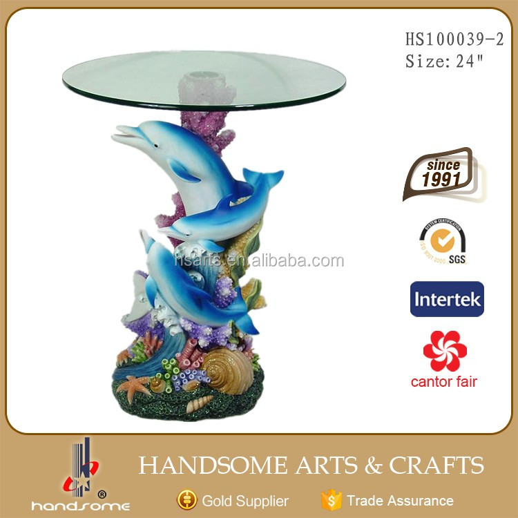 24 Inch Resin Craft Home Decoration Furniture Dolphin Animal Figurine Glass Coffee Table