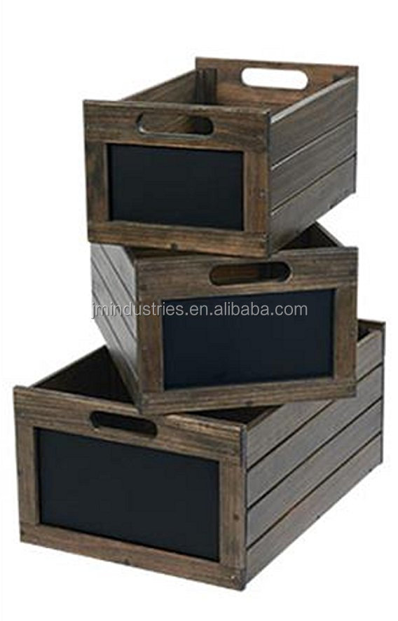 Set of 3 Vintage Distressed Wooden Chalkboard Storage Crate Box with Chalkboard