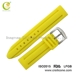 Non-toxic odorless FDA silicone rubber watch band soft touch silicone wrist band watch strap gold supplier for swatch