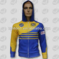 High quality custom printing zipper up sports fleece hoody jackets/sweatshirts for men