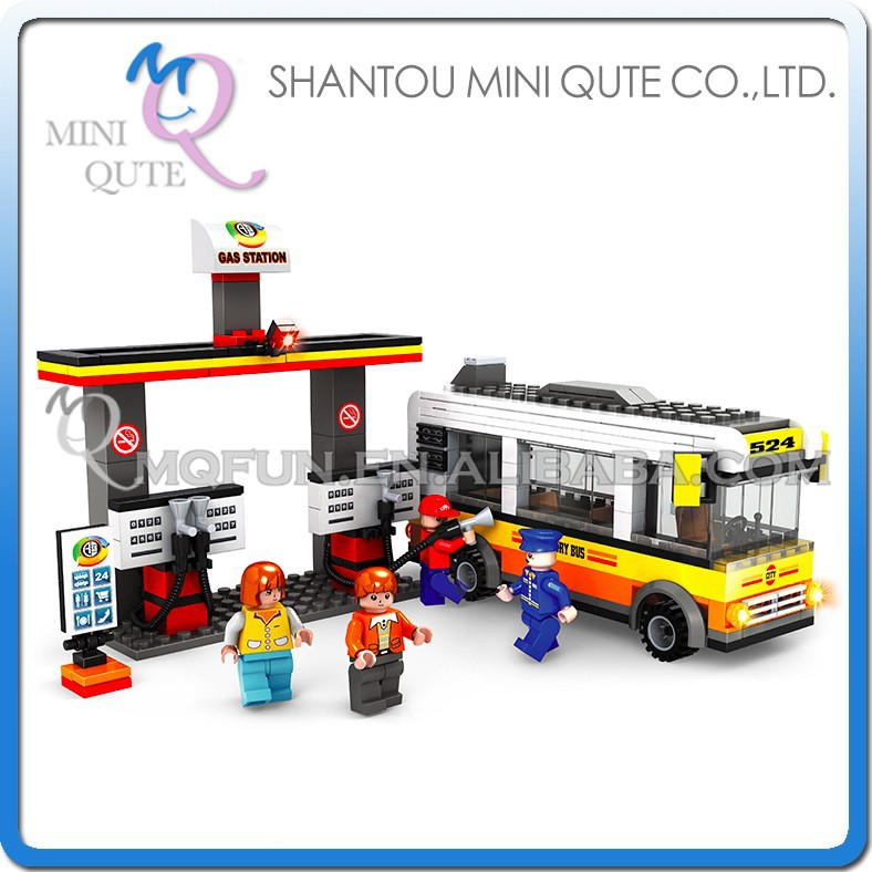 Mini Qute DIY city bus stop gas station car vehicle truck action figure plastic building block brick educational toy NO.25608