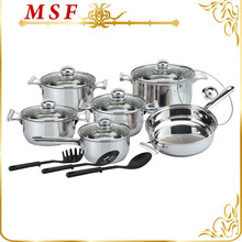 Utility good looking 15pcs surgical stainless steel European cookware with nylon kitchen tools