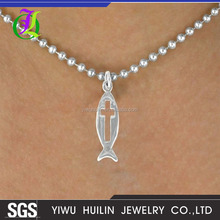 A100597 Yiwu Huilin Jewelry simple style cross fish shape pendant long alloy clain necklace with Jesus